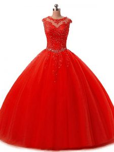 Latest Floor Length Lace Up Sweet 16 Dress Red for Military Ball and Sweet 16 and Quinceanera with Beading and Lace