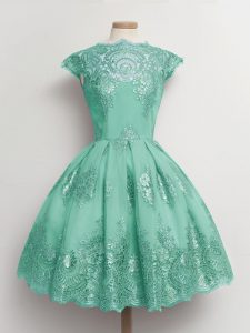 Knee Length A-line Cap Sleeves Turquoise Quinceanera Court of Honor Dress Lace Up