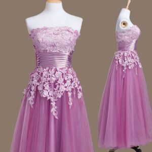 Customized Tea Length Lace Up Quinceanera Court Dresses Lilac for Prom and Party and Wedding Party with Appliques