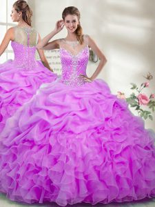 Scoop Sleeveless Sweet 16 Quinceanera Dress Floor Length Beading and Ruffles Lilac Organza