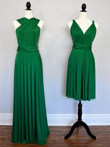 Halter Top Sleeveless Lace Up Court Dresses for Sweet 16 Dark Green Chiffon