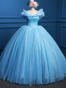 Baby Blue Quinceanera Gown Military Ball and Sweet 16 and Quinceanera with Appliques Off The Shoulder Sleeveless Zipper