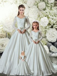 Pretty Long Sleeves Chapel Train Lace Up Lace and Belt Quinceanera Dresses