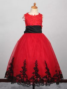 Unique Red Glitz Pageant Dress Wedding Party with Appliques Bateau Sleeveless Lace Up