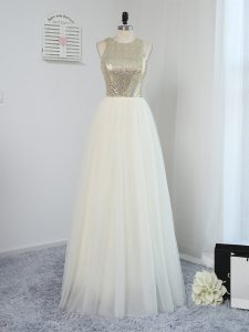 Scoop Sleeveless Tulle Damas Dress Sequins Backless