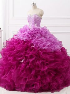 Multi-color Sweetheart Neckline Beading and Appliques and Ruffles Quince Ball Gowns Sleeveless Lace Up