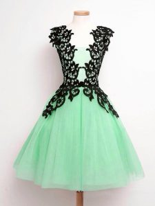 Custom Designed Apple Green Sleeveless Lace Knee Length Quinceanera Court of Honor Dress
