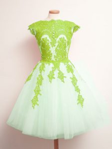 Custom Designed Tulle Scalloped Sleeveless Lace Up Appliques Vestidos de Damas in