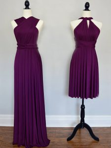 Floor Length Purple Quinceanera Court of Honor Dress Chiffon Sleeveless Ruching