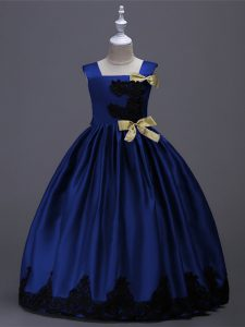 Dazzling Royal Blue A-line Taffeta Square Sleeveless Appliques and Bowknot Floor Length Zipper Flower Girl Dress