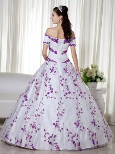 Hot Sale Floor Length Ball Gowns Short Sleeves White Quinceanera Gowns Lace Up
