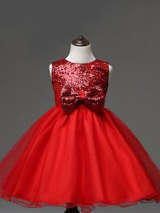 Latest Red Pageant Dress Wedding Party with Sequins and Bowknot Scoop Sleeveless Zipper
