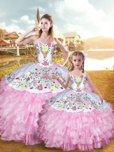 Sleeveless Organza and Taffeta Floor Length Lace Up Vestidos de Quinceanera in Rose Pink with Embroidery and Ruffled Layers