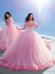Lace Up Ball Gown Prom Dress Baby Pink for Military Ball and Sweet 16 and Quinceanera with Hand Made Flower Brush Train
