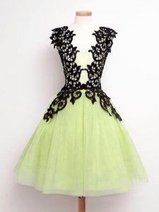 Custom Made Lace Dama Dress for Quinceanera Yellow Green Lace Up Sleeveless Knee Length