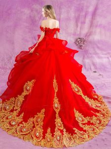 Flare Red Tulle Lace Up Sweet 16 Dresses Sleeveless Court Train Appliques and Ruffles