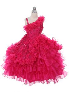 Hot Pink Lace Up Pageant Dress for Teens Lace and Ruffles and Ruffled Layers Sleeveless Floor Length