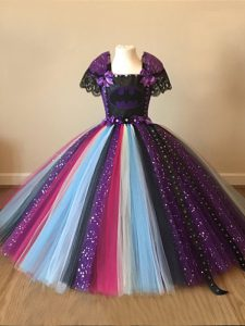Multi-color Tulle Zipper High School Pageant Dress Short Sleeves Floor Length Sequins and Pattern
