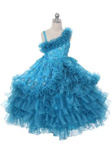 Graceful Asymmetric Sleeveless Custom Made Pageant Dress Floor Length Lace and Ruffles and Ruffled Layers Teal Organza