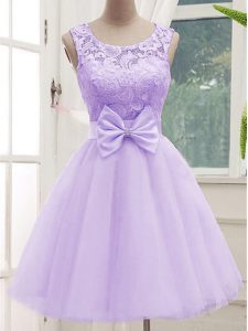 Flirting Lavender Scoop Lace Up Lace and Bowknot Dama Dress Sleeveless