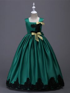 Captivating Sleeveless Floor Length Appliques and Bowknot Zipper Flower Girl Dresses with Dark Green