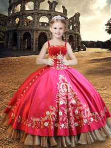 Floor Length Hot Pink Quince Ball Gowns Taffeta Sleeveless Beading and Embroidery