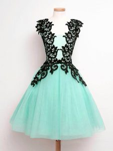 Straps Sleeveless Lace Up Dama Dress for Quinceanera Turquoise Tulle