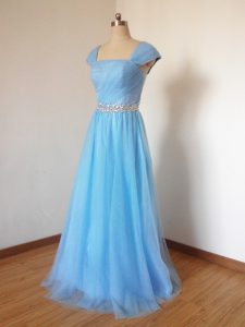 Attractive Square Cap Sleeves Vestidos de Damas Floor Length Beading Baby Blue Tulle