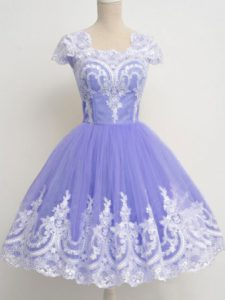 Superior Knee Length Lavender Court Dresses for Sweet 16 Square Cap Sleeves Zipper
