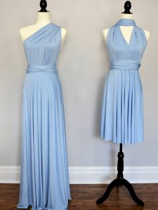 Dynamic Light Blue Dama Dress Prom and Wedding Party with Ruching One Shoulder Sleeveless Lace Up