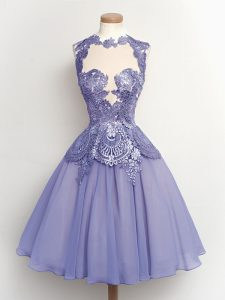 Hot Sale Knee Length A-line Sleeveless Lilac Quinceanera Court of Honor Dress Lace Up