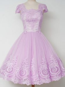 New Arrival Cap Sleeves Zipper Knee Length Lace Court Dresses for Sweet 16