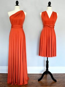 Designer Floor Length Orange Red Damas Dress One Shoulder Sleeveless Lace Up