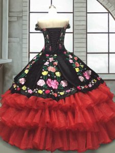 Red And Black Vestidos de Quinceanera Military Ball and Sweet 16 and Quinceanera with Embroidery and Ruffled Layers Off The Shoulder Sleeveless Lace Up