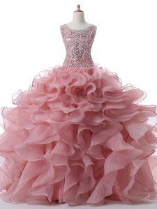 Floor Length Pink Sweet 16 Quinceanera Dress Scoop Sleeveless Zipper