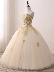 Champagne Ball Gowns Sweetheart Sleeveless Tulle Floor Length Lace Up Beading and Lace and Appliques Quinceanera Gown