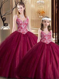 Ideal Floor Length Ball Gowns Sleeveless Wine Red Sweet 16 Dresses Lace Up