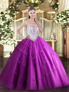 Graceful Fuchsia Zipper Scoop Beading and Appliques Quinceanera Dress Tulle Sleeveless