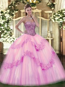 Tulle Sleeveless Floor Length 15th Birthday Dress and Beading and Appliques and Ruffles