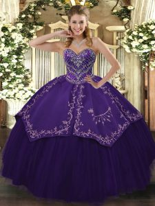Customized Pattern Quinceanera Dress Purple Lace Up Sleeveless Floor Length