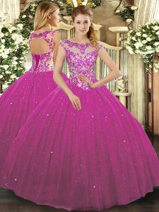 Charming Fuchsia Tulle Lace Up Quinceanera Dress Cap Sleeves Floor Length Beading and Appliques