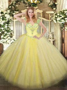 Exquisite Light Yellow Lace Up Sweet 16 Dresses Beading Sleeveless Floor Length