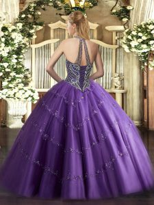Colorful Chocolate Tulle Lace Up Halter Top Sleeveless Floor Length 15 Quinceanera Dress Beading