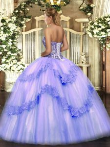 Light Yellow Ball Gowns Beading and Appliques Vestidos de Quinceanera Lace Up Tulle Sleeveless Floor Length