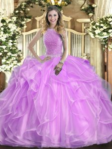 Lilac 15th Birthday Dress Military Ball and Sweet 16 and Quinceanera with Beading and Ruffles High-neck Sleeveless Lace Up