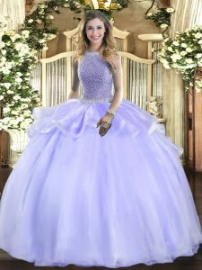 Lavender Square Neckline Beading Vestidos de Quinceanera Sleeveless Lace Up