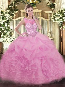 Romantic Lilac 15th Birthday Dress Sweet 16 and Quinceanera with Beading and Ruffles Scoop Sleeveless Lace Up