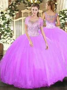 Wonderful Lilac Sleeveless Floor Length Beading Clasp Handle Sweet 16 Quinceanera Dress
