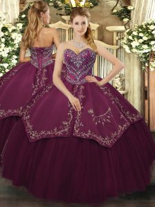 New Arrival Burgundy Ball Gowns Beading and Pattern 15 Quinceanera Dress Lace Up Taffeta and Tulle Sleeveless Floor Length