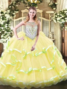 Gorgeous Floor Length Yellow Green and Light Yellow 15 Quinceanera Dress Organza Sleeveless Beading and Ruffled Layers